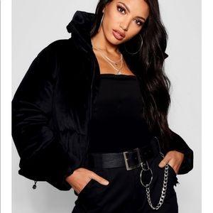 NWT BooHoo Alicia velvet padded puffer jacket